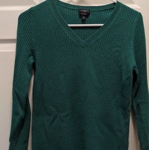 Talbot's Cashmere Emerald Green PM V neck Sweater